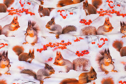 White cotton-jersey with squirrels in the snow