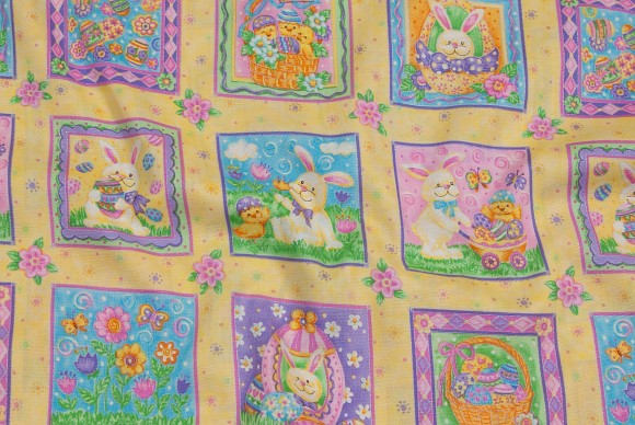 Easter cotton with sqaure pattern with bunnies etc.