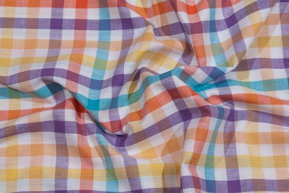 Orange-yellow-purple-turqoise checkered cotton in fresh colors