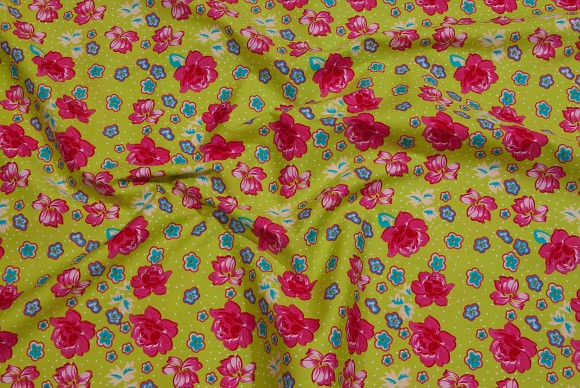 Lime cotton-poplin with red-pink flowers