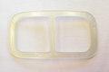 Glas-white belt buckle, belt width 4.5 cm.
