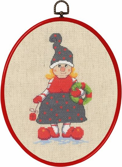 Wall embroidery with elf lady with gift