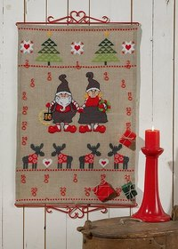 Christmas calendar with reindeer, elfs and trees