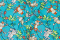 Turqoise patchwork-cotton with monkies .