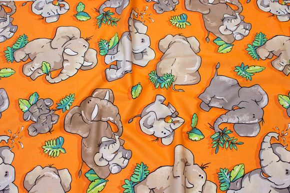 Orange patchwork-cotton with elephants