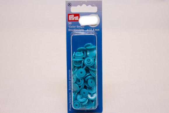 Turqoise plastic press fasteners ø 12.4 mm