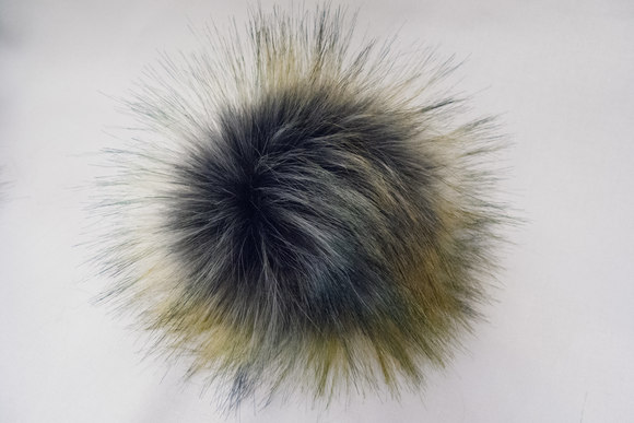 Pompon imitated fur, grey with colours
