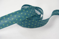 Bias tape, green with lime stars 2 cm