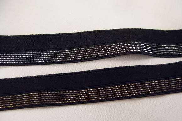 Elastic bias tape gold or silver 2 cm