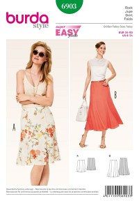 Gored Skirt with softly flowing hem. Burda 6903.
