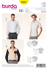 Men´s shirt, tucks. Burda 6931.