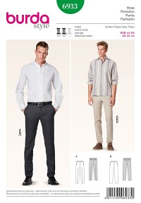 Men´s trousers, slender cut. Burda 6933.
