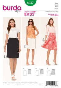 Skirt, elastic casing. Burda 6937.