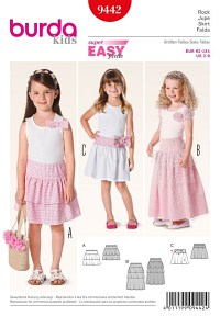 Skirt, Tiered Skirt- elastic casing. Burda 9442.