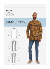 Mens Half Buttoned Shirts. Simplicity 9158.