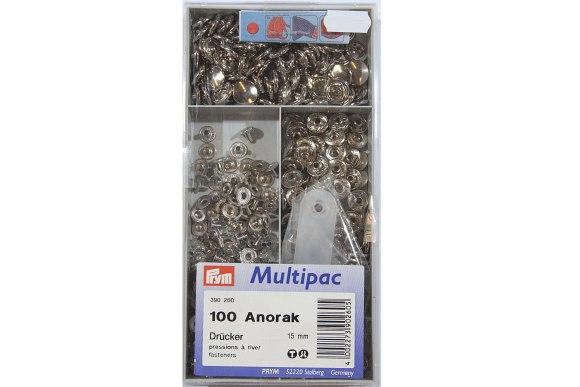 Anorak press fasteners, bulk box 100 pcs