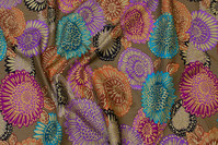 Beautiful, brown patchwork-cotton with purple and turqoise flowers