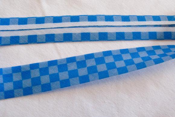 Bias tape blue-blue suares, 2 cm