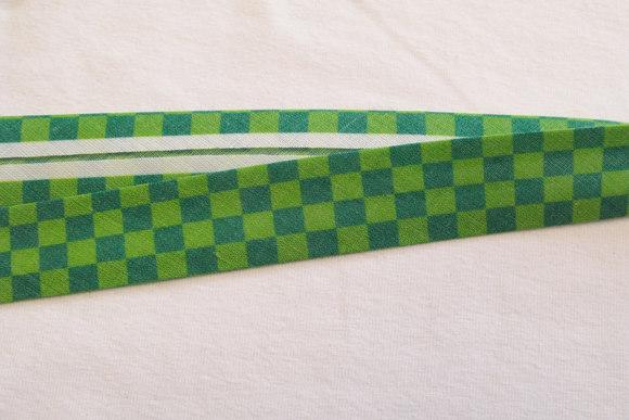 Bias tape green-green suares, 2 cm