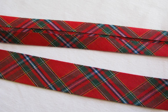 Bias tape scottish squares, 2 cm