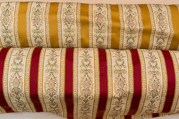 Biedermeier furniture fabric in red or yellow