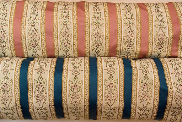 Biedermeier furniture fabric in rose and blue