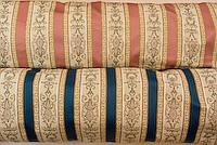 Biedermeier furniture fabric in rose and blue