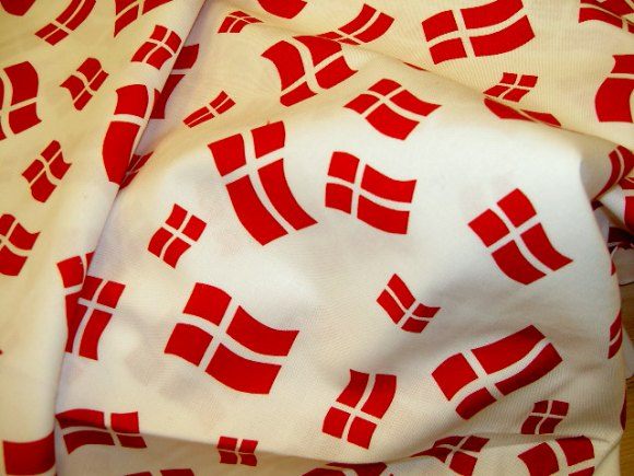 Danish flags on cotton