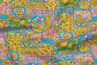 Easter cotton with eggs, bunnies etc. in yellow, green, pink