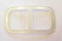 Glas-white belt buckle, belt width 4.5 cm