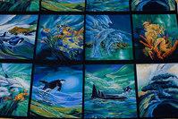 Gorgeous bluish patchwork fabric with ocean motifs