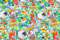 Mint-green patchwork-cotton with parrots