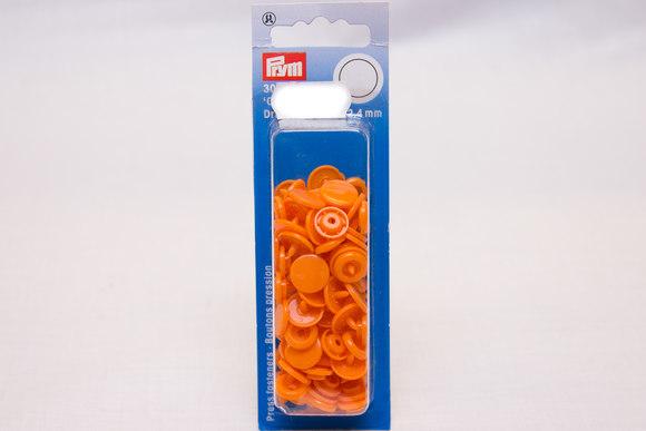 Orange plastic press fasteners ø 12.4 mm
