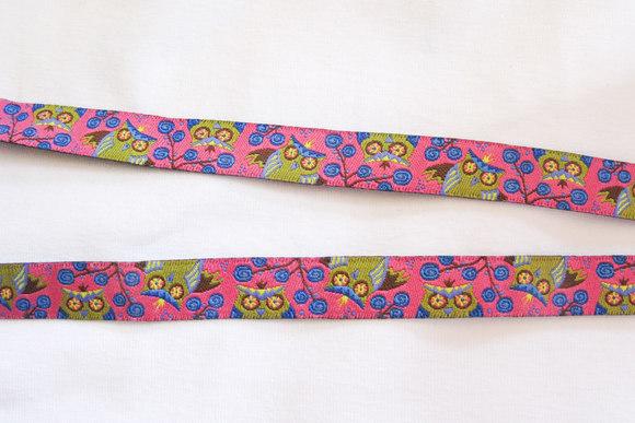Owl ribbon pink, 1cm
