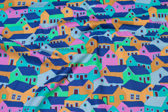 Patchwork-cotton with houses in blue and green nuances