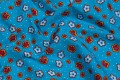 Turqoise cotton-poplin with small red flowers.