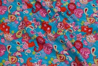 Turqoise poplin-cotton with red-pink pattern