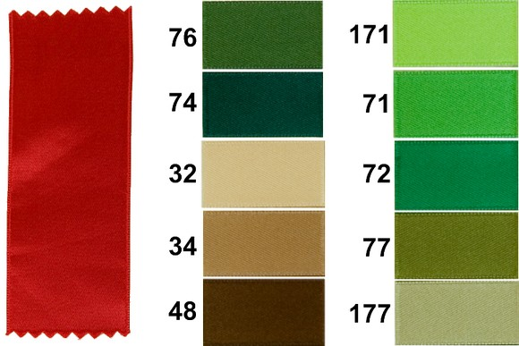 Sateen drapes, green-brown nuances, 16 mm width