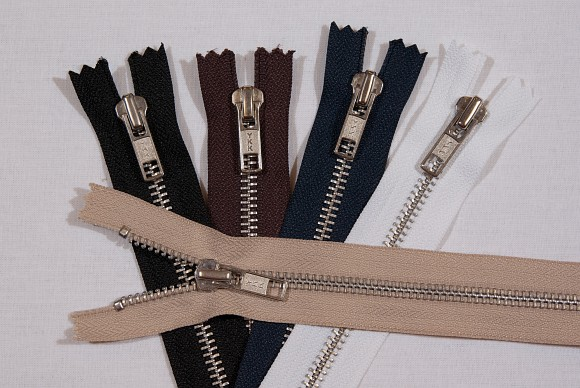 Pants zipper, metal, 6 mm wide, 15 cm long