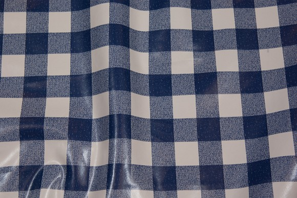 Blue and white 2,5 x 2,5 cm checkered coated fabric