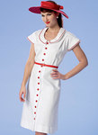 Butterick 6363. Button-Front, Flutter Sleeve Dresses and Sun Hats.