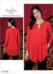 Loose-fitting pullover tunic has front and back tucks, pockets, and purchased chain.