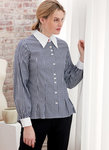 Loose-fitting button front shirts have collar and cuff variations. A: Contrast collar, collar band and cuffs.