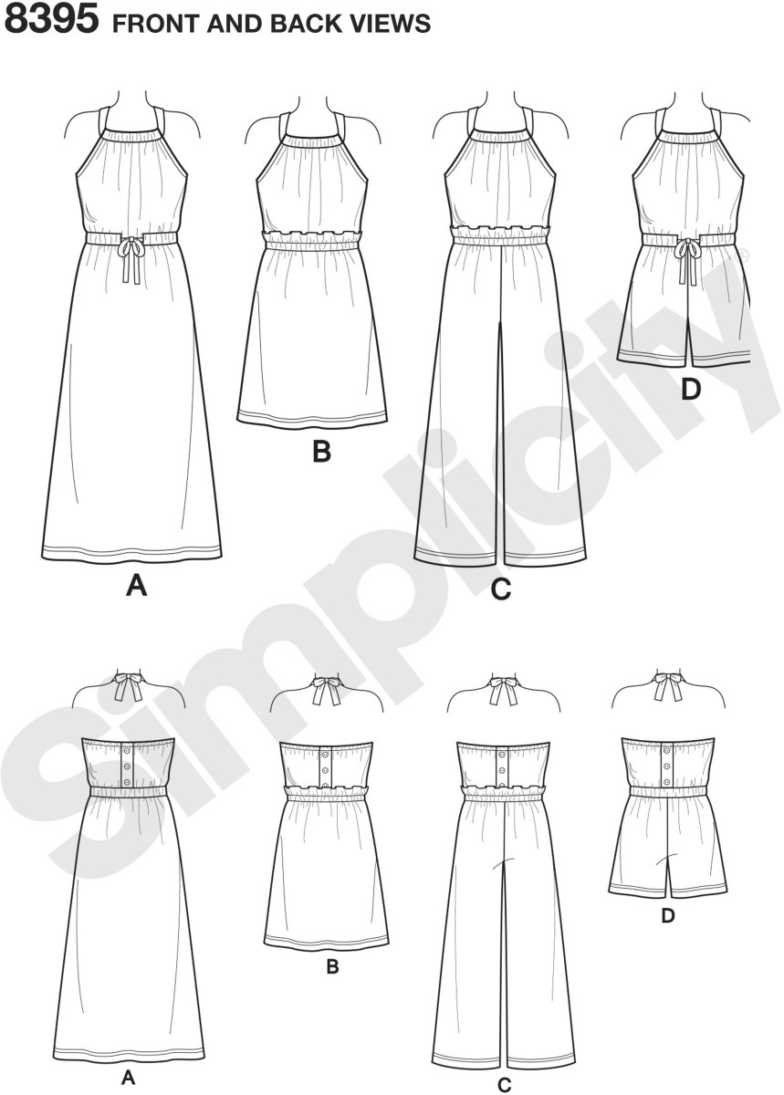 Sew up these adorable halter dresses and rompers for little sister big sister. Both dress and romper have cutting lines for long or short lengths. All views ties at back of neck with two options for finishing the waistline view B and C have ruffle finish ab.