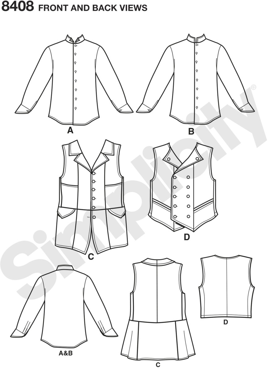 Men's shirt and vests by Arkivestry are perfect to wear to a formal event or as a building piece for your next costume. Pattern features a button down shirt with two collar options, longer single breasted and shorter double breasted vests.