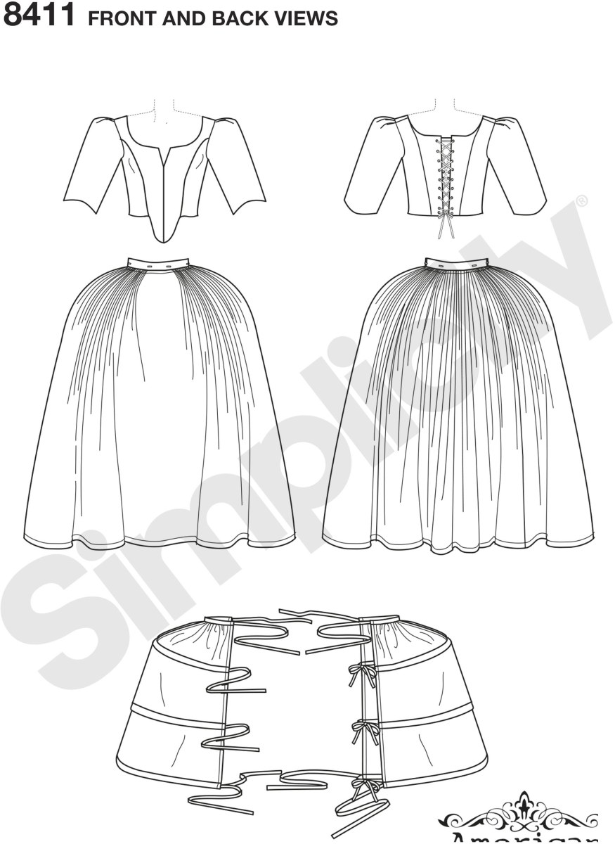 Journey to the 18th century with this Women's French lined dress with separate bodice and skirt.  Includes pattern and instruction for panniers for underneath skirt to create fullness and structure. Petticoat not included. Simplicity costume pattern by Am.