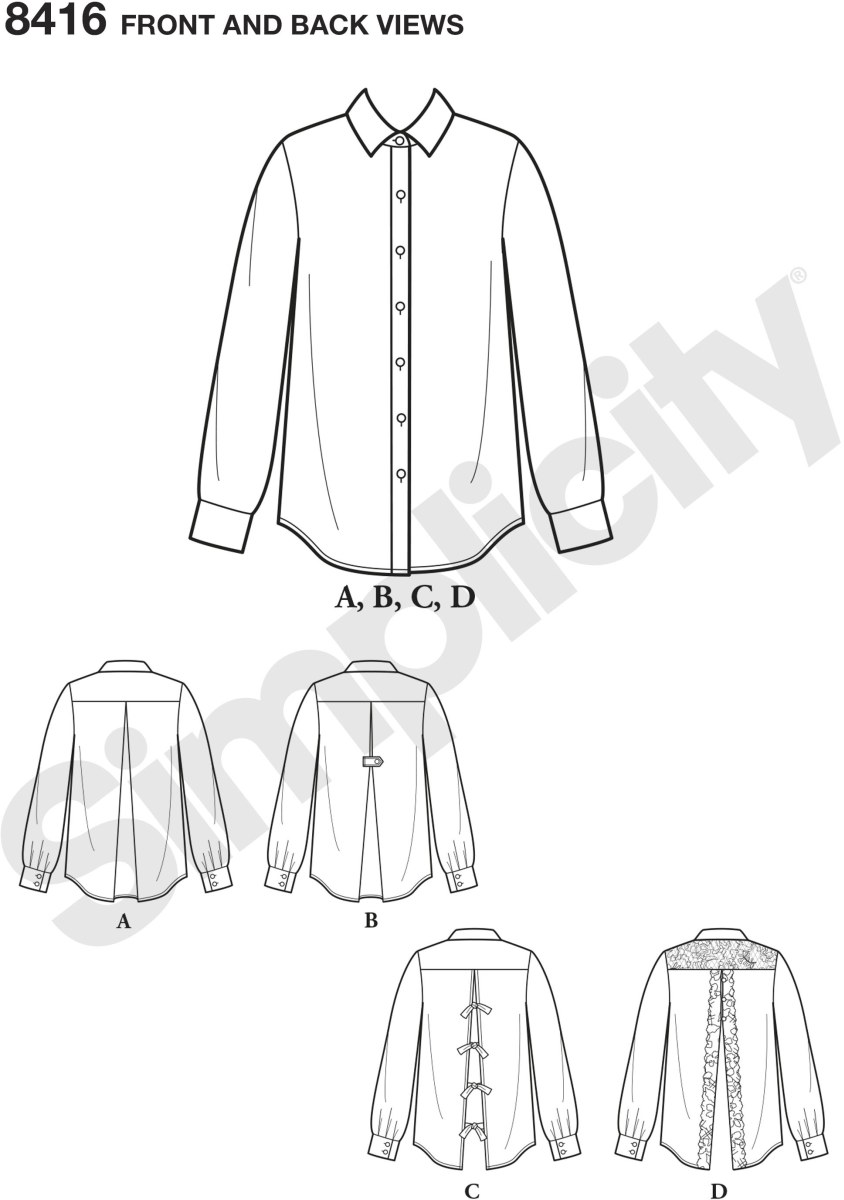Make a statement with a twist on the classic button up shirt. Back interest options include; pleated back, vent with ties or lace. Simplicity sewing pattern.