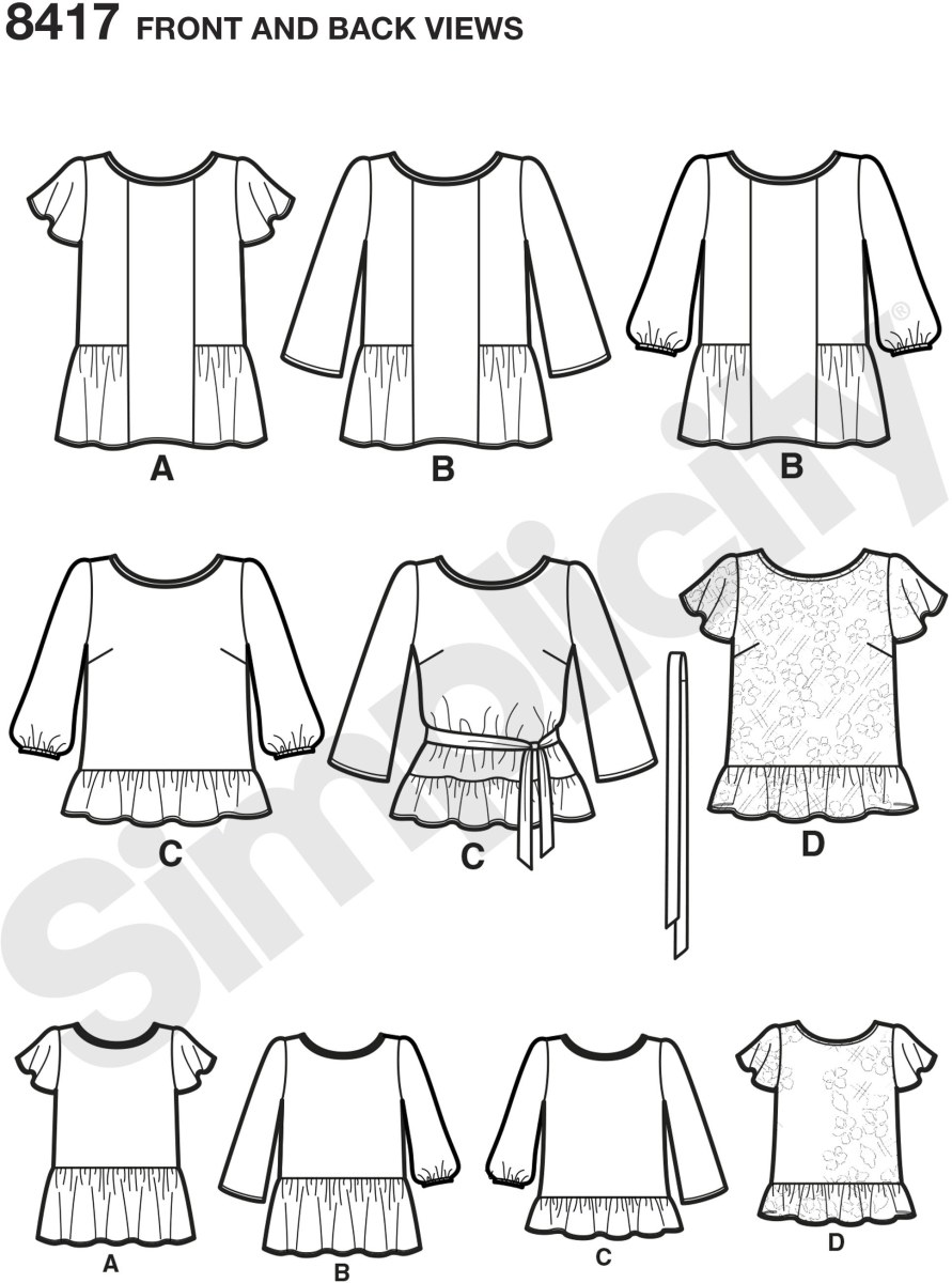 Misses pullover tops are a great addition to your spring wardrobe. Perfect for mixing prints, color blocking and or with lace fabrics. Create a feminine blouse with just the right amount of ruffle to fit your style. Simplicity sewing pattern by Karen Z