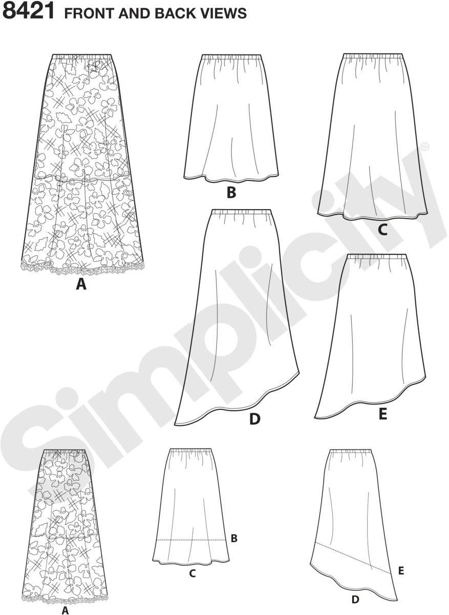 Easy to sew skirt with only three pattern pieces allows you to create multiple skirts styles in no time at all. Pattern has cutting lines for three different lengths and an asymmetrical option in two lengths. Great for silky type fabric and  sheer or lace