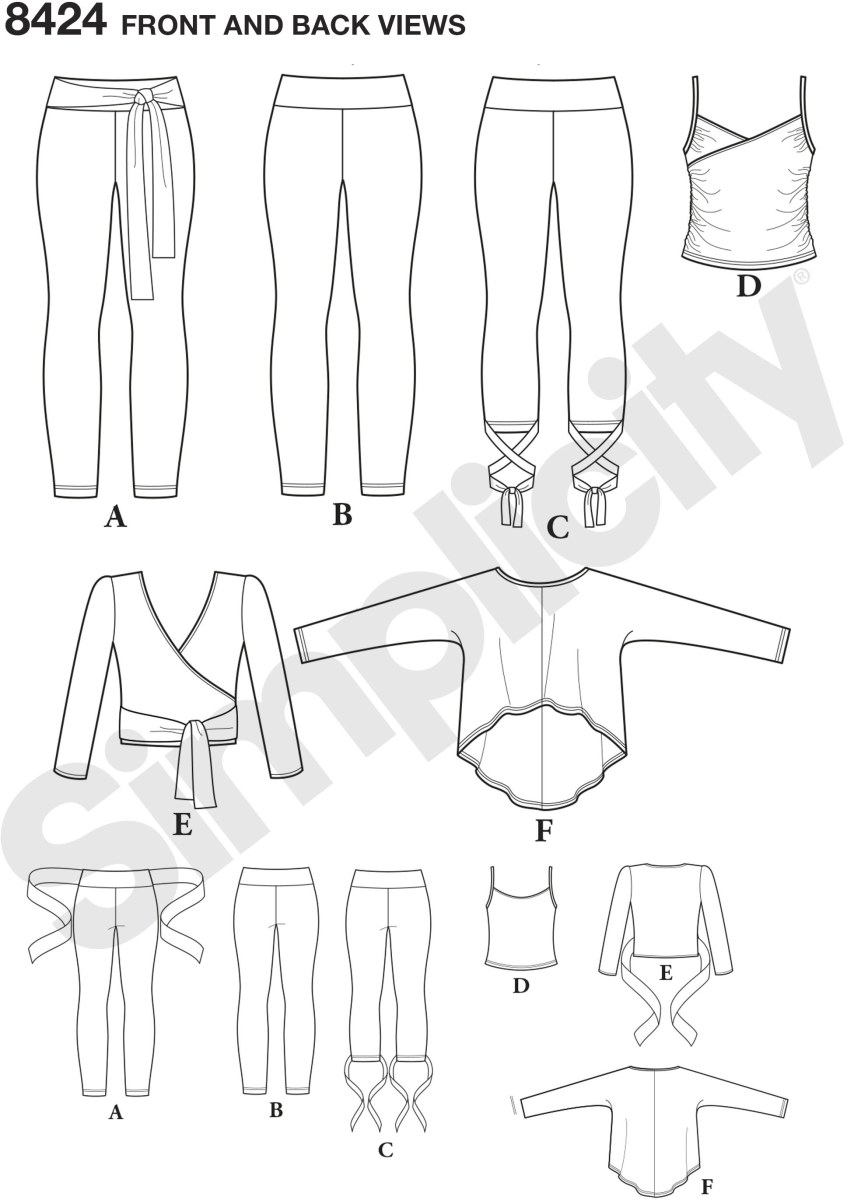 Misses sewing pattern, sized XXS to XXL, for ballet style workout gear includes knit leggings with optional ankle or waist ties, wrap top, tank and pullover top with sleeves. These pieces are perfect for working out or enjoying some down time. Simplicity